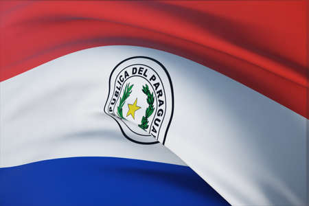 Waving flags of the world - flag of Paraguay. Closeup view, 3D illustration.