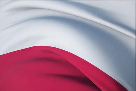 Waving flags of the world - flag of Poland. Closeup view, 3D illustration. 免版税图像