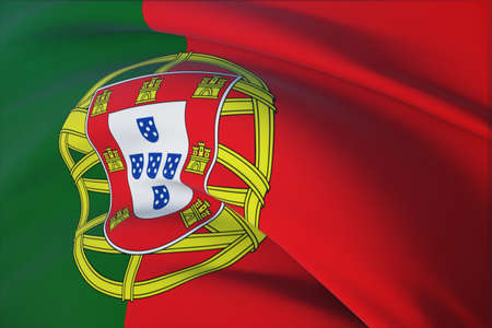 Waving flags of the world - flag of Portugal. Closeup view, 3D illustration.