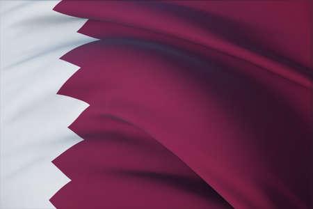 Waving flags of the world - flag of Qatar. Closeup view, 3D illustration. 免版税图像