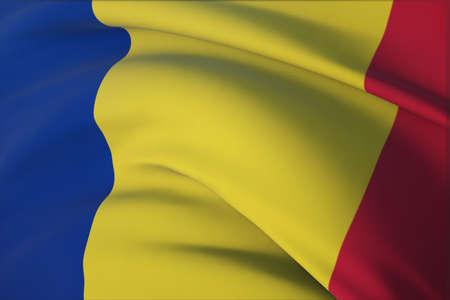 Waving flags of the world - flag of Romania. Closeup view, 3D illustration.