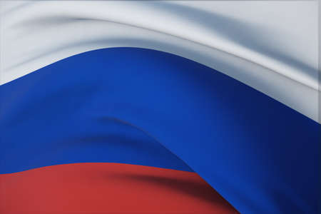 Waving flags of the world - flag of Russia. Closeup view, 3D illustration.