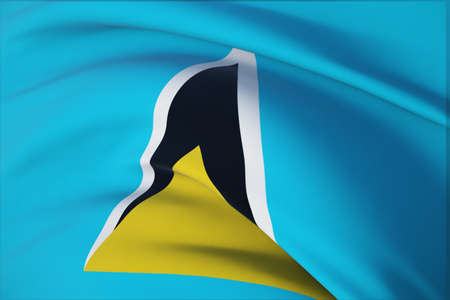 Waving flags of the world - flag of St. Lucia. Closeup view, 3D illustration.