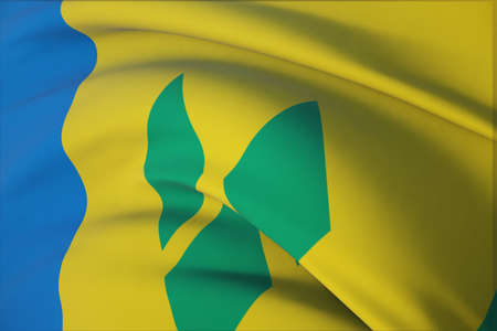 Waving flags of the world - flag of Saint Vincent And The Grenadines. Closeup view, 3D illustration. 免版税图像