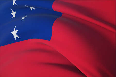 Waving flags of the world - flag of Samoa. Closeup view, 3D illustration. 免版税图像