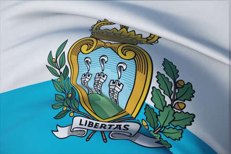 Waving flags of the world - flag of San Marino. Closeup view, 3D illustration.