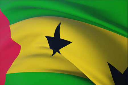 Waving flags of the world - flag of Sao Tome and Principe. Closeup view, 3D illustration.