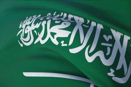 Waving flags of the world - flag of Saudi Arabia. Closeup view, 3D illustration.