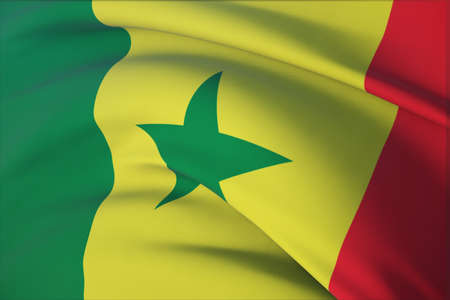 Waving flags of the world - flag of Senegal. Closeup view, 3D illustration.