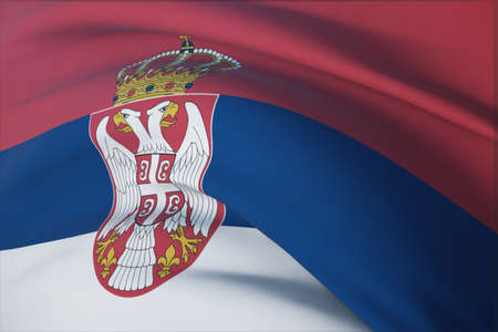 Waving flags of the world - flag of Serbia. Closeup view, 3D illustration. 免版税图像