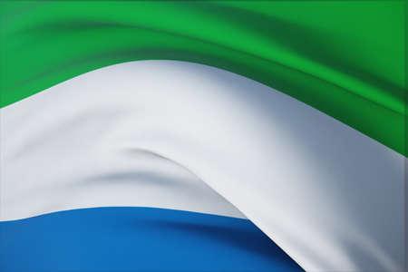 Waving flags of the world - flag of Sierra Leone. Closeup view, 3D illustration. 免版税图像