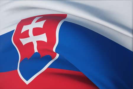 Waving flags of the world - flag of Slovakia. Closeup view, 3D illustration. 免版税图像