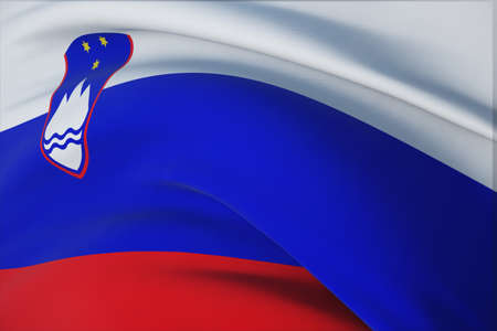 Waving flags of the world - flag of Slovenia. Closeup view, 3D illustration.