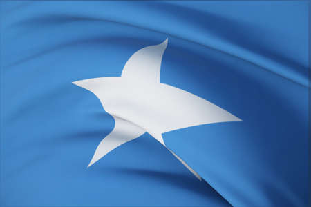 Waving flags of the world - flag of Somalia. Closeup view, 3D illustration.