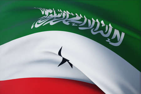 Waving flags of the world - flag of Somaliland. Closeup view, 3D illustration.