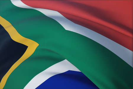 Waving flags of the world - flag of South Africa. Closeup view, 3D illustration.