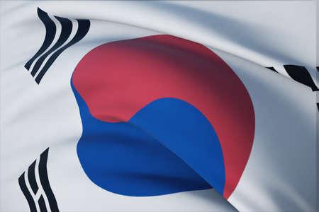 Waving flags of the world - flag of South Korea. Closeup view, 3D illustration. 免版税图像