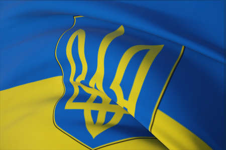 Waving flags of the world - flag of Ukraine. Closeup view, 3D illustration.