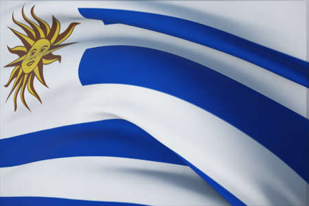 Waving flags of the world - flag of Uruguay. Closeup view, 3D illustration.