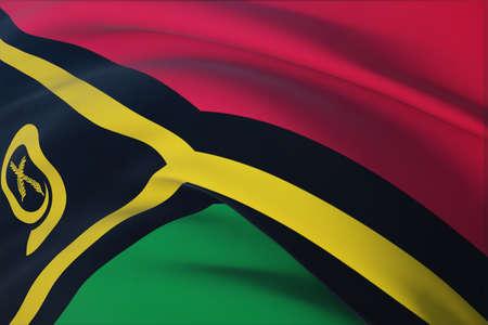 Waving flags of the world - flag of Vanuatu. Closeup view, 3D illustration. 免版税图像
