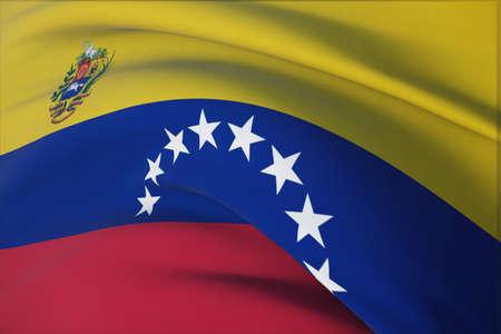 Waving flags of the world - flag of Venezuela. Closeup view, 3D illustration. 免版税图像