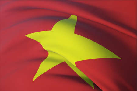 Waving flags of the world - flag of Vietnam. Closeup view, 3D illustration.