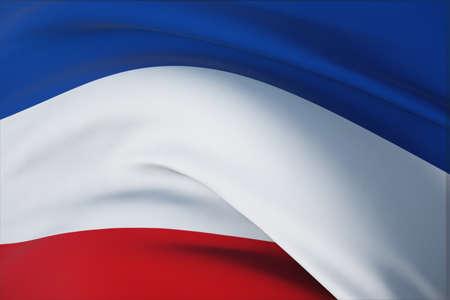 Waving flags of the world - flag of Yugoslavia. Closeup view, 3D illustration. 免版税图像