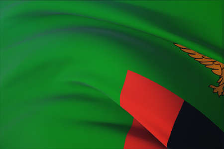 Waving flags of the world - flag of Zambia. Closeup view, 3D illustration. 免版税图像