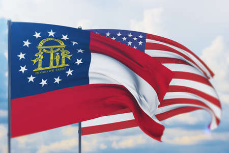 State of Georgia flag. 3D illustration, flags of the U.S. states and territories 免版税图像