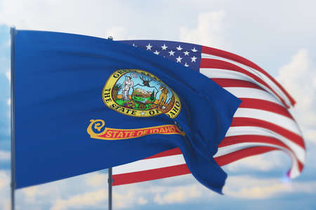 State of Idaho flag. 3D illustration, flags of the U.S. states and territories 免版税图像