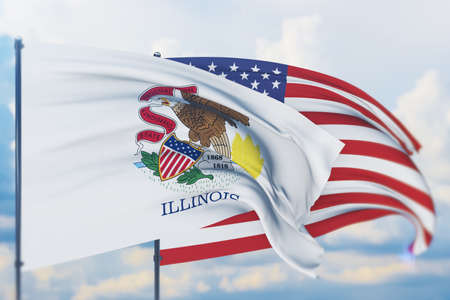 State of Illinois flag. 3D illustration, flags of the U.S. states and territories