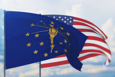 State of Indiana flag. 3D illustration, flags of the U.S. states and territories