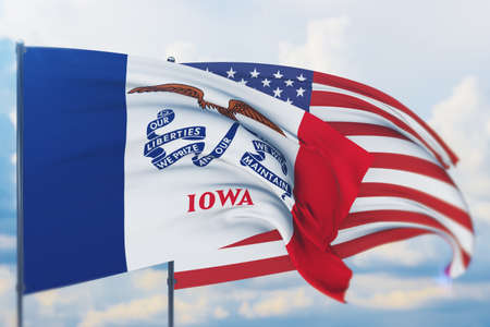 State of Iowa flag. 3D illustration, flags of the U.S. states and territories