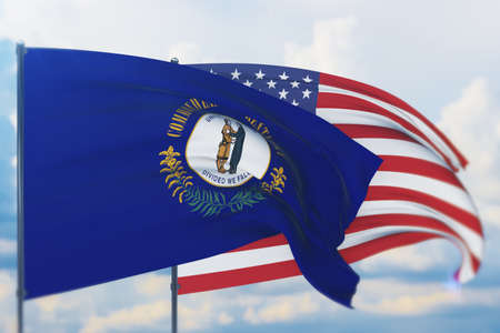 State of Kentucky flag. 3D illustration, flags of the U.S. states and territories