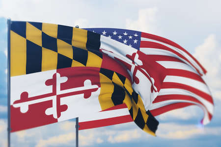 State of Maryland flag. 3D illustration, flags of the U.S. states and territories
