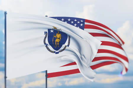 State of Massachusetts flag. 3D illustration, flags of the U.S. states and territories 免版税图像
