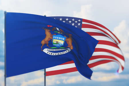 State of Michigan flag. 3D illustration, flags of the U.S. states and territories