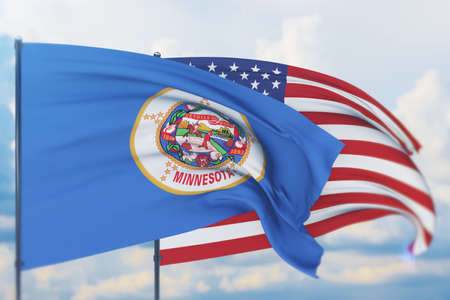 State of Minnesota flag. 3D illustration, flags of the U.S. states and territories