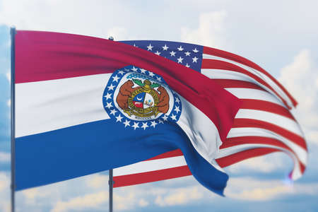 State of Missouri flag. 3D illustration, flags of the U.S. states and territories