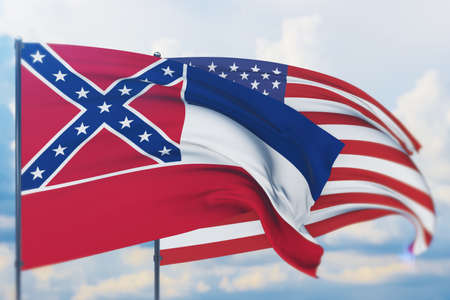 State of Mississippi flag. 3D illustration, flags of the U.S. states and territories 免版税图像
