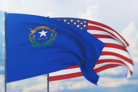 State of Nevada flag. 3D illustration, flags of the U.S. states and territories 免版税图像