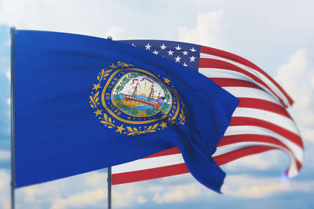 State of New Hampshire flag. 3D illustration, flags of the U.S. states and territories