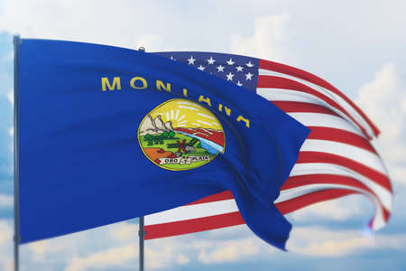 State of Montana flag. 3D illustration, flags of the U.S. states and territories