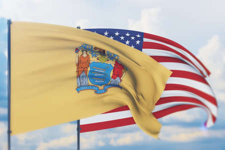 State of New Jersey flag. 3D illustration, flags of the U.S. states and territories