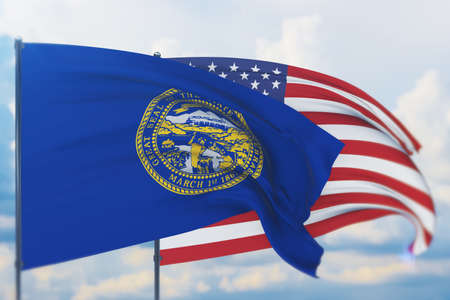 State of Nebraska flag. 3D illustration, flags of the U.S. states and territories 免版税图像