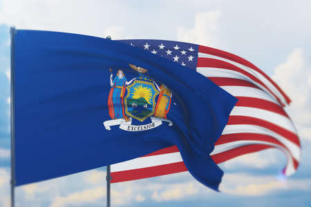State of New York flag. 3D illustration, flags of the U.S. states and territories