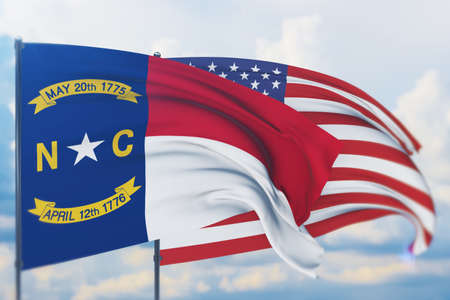 State of North Carolina flag. 3D illustration, flags of the U.S. states and territories 免版税图像