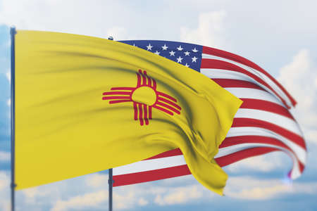 State of New Mexico flag. 3D illustration, flags of the U.S. states and territories 免版税图像