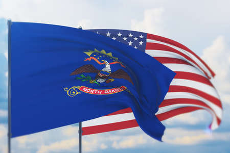 State of North Dakota flag. 3D illustration, flags of the U.S. states and territories