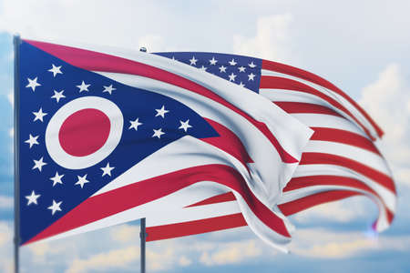 State of Ohio flag. 3D illustration, flags of the U.S. states and territories 免版税图像